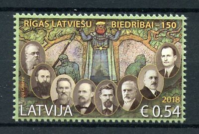Latvia 2018 MNH Riga Latvian Society 150th Anniv 1v Set People Stamps