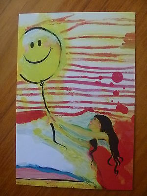 Postcard...happy Tummy....girl In Red Dress With Balloon..smiley Face..artisitc