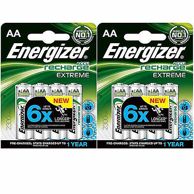LOT 2 x 4 BATTERIES ACCUMULATOR ENERGIZER RECHARGEABLE AA LR06 1.2V 2300mAh