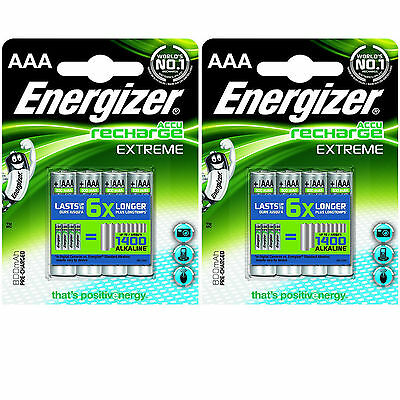 LOT 2 x 4 BATTERIES ACCUMULATOR ENERGIZER RECHARGEABLE AAA LR03 1.2V 800mAh