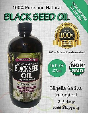 16 fl oz Non GMO 100% Pure Black Seed Oil Cold Pressed Cumin Nigella Sativa