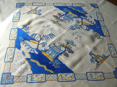 Stunning Vintage Hand Embroidered Table Cloth - Traditional Blue Willow Pattern