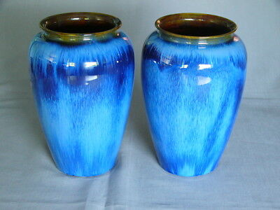 Impressive Pair of Large Bourne Denby Blue Dripware Vases
