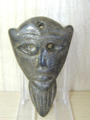 Antique Carved Stone Idol figure statuette,god,alien,Mask Amulet from Mongolia