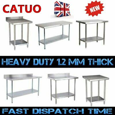 Stainless Steel Table Catering Work Bench Table Kitchen Top / Wheels