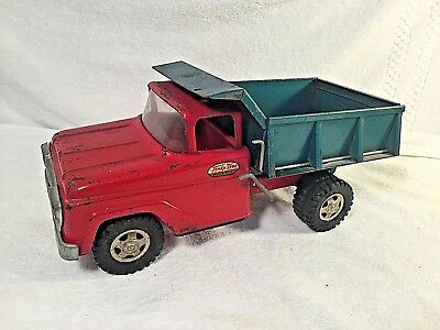 Vintage Tonka Mound Label Dump Truck 1960s Pressed Steel Green & Red