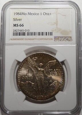 TONED 1984 MO NGC MS66 Mexico Libertad 1 Onza Silver Coin 1 Troy Ounce .999