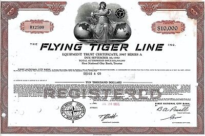 The Flying Tiger Line Inc., 1967, 6,6% Equipment Trust Cert. due 1980 (10.000 $)
