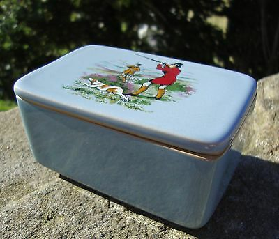 Rare Vintage 1940's Denby Bourne Butter Dish - Hunting Dog Scene - Superb Used