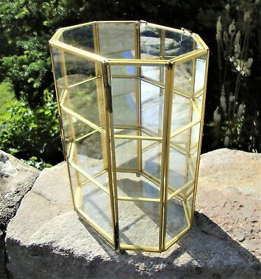 Vintage Brass & Glass Display Cabinet - Ornaments / Thimbles / Curios - Superb
