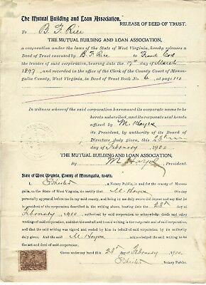 West Virginia Release of Deed of Trust from February 23, 1900