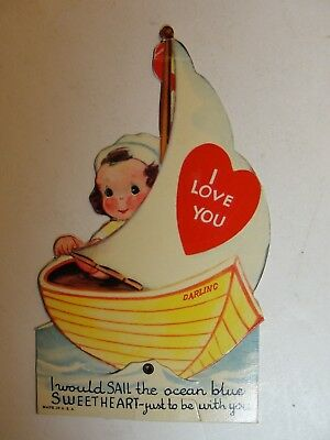Vintage Mechanicial Die Cut Valentine**girl With Moving Boat**circa Early 1900's