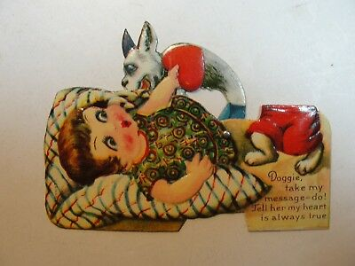 Vintage Mechanicial Die Cut Valentine**girl With Dog**circa Early 1900's