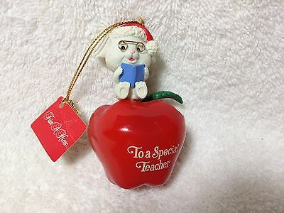 "1992 Lustre Fame 3"" Ornament To A Special Teacher Mouse With Apple Rare"