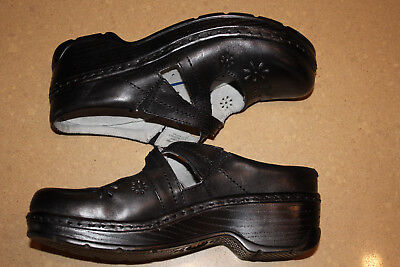 KLOGS Shoes Clogs Women's 8 Leather Black Cut Outs Slip Resistant Cara Fall