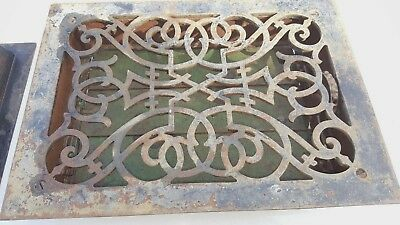 Antique Cast Iron Victorian Heat Grate Floor Register Vintage Ornate Decorative