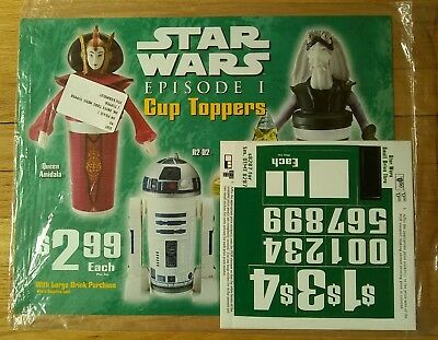1999 PEPSI Star Wars Cup Toppers Drive Thru Plastic Sign 18x14 Unused Sealed