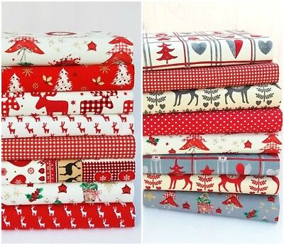 Christmas Fabric Fat Quarters & Patchwork Bundles Quality Cotton Craft Sewing