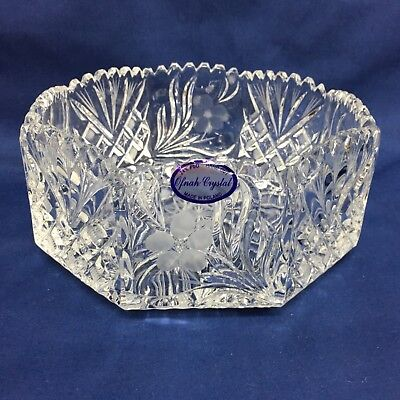Vintage Ofnah Clear Crystal 24% PBO Hand Cut Bowl Made in Poland Floral