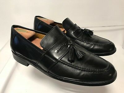 ab20d1a70b28f JOHNSTON MURPHY MENS Black Leather Slip On Moc Toe Tassel Loafers Size 11.5  M