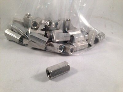 """Lot of (50) 1/2"""" Rod Couplers, Rod Connectors, Type 304 Stainless Steel"""