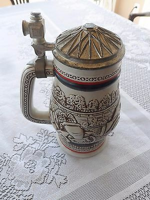 Vintage 1979 Avon Brazil Beer Stein w/ Lid Classic Antique Cars Ford Model T