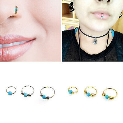 3×Nose Ring Septum Hanger Fake Clip On Clicker Gem Piercing Non Piercing Gold