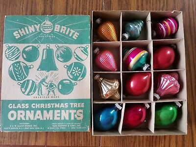 12 Vintage Glass SHINY BRITE Ornaments of Various Shapes in Box