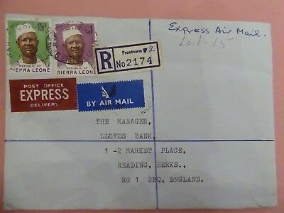 Sierra Leone Express Airmail Registered Cover from Freetown to UK Slightly Later