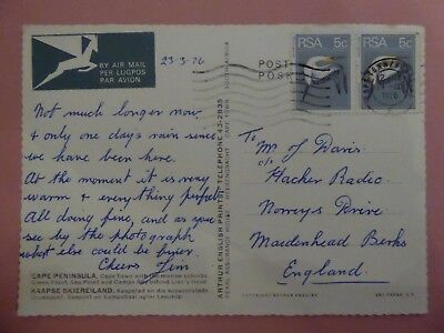 South Africa, 1976 Cape Peninsula Post Card addressed to UK with Paired Bird Sta