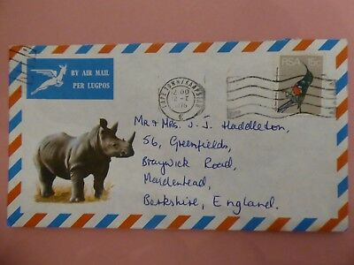 South Africa, Illustrated (Rhino) Airmail Cover Addressed to UK from 12th Januar