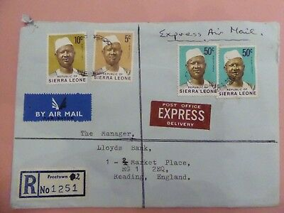 Sierra Leone Express Airmail Registered Cover from Freetown to UK with labels
