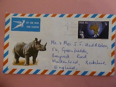 South Africa, Illustrated (Rhino) Airmail Cover with Satellite Communication Sta