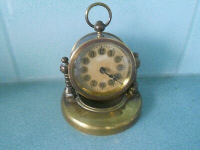 Beautiful Antique Solid Brass Swivel Desk Clock - Wind Up Movement - Working