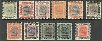 """Brunei – 1907 - 16 """"water Village & Taxi"""" Def. 11 Diff. To $1 (Mint)"""