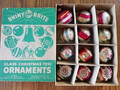 12 Vintage Colorful SHINY BRITE Stripes and Indents in Box