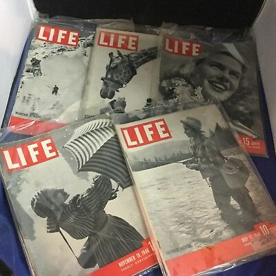 Life Magazine - Lot of 5 - 1945-46 - Antique - Rare - Collectible - Lot 623