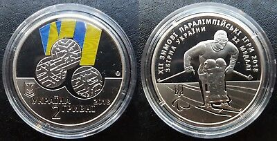 UKRAINE, 2 Hryvni 2018 Coin UNC, the Pyeongchang Paralympic Winter Games