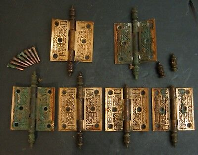 Set of 6 Hinges Victorian Brass American AS IS