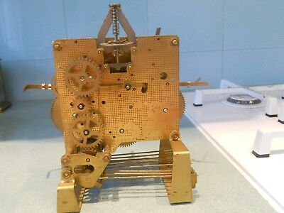 Antique / Vintage Brass Clock Movement With 9 Hammer Westminster Chimes