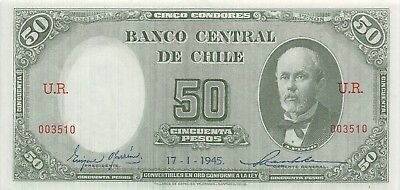 Chile  50  Pesos   17.1.1945  P 104  Series  U.R.  Circulated Banknote  L19