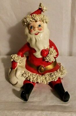 Vintage Spaghetti Trim Santa w/ BAG A Christmas Ceramic Marked Japan