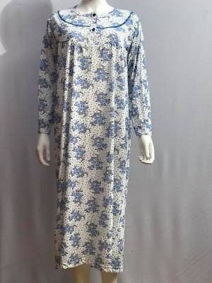Womens Long Sleeve Nightdress Night Wear Ladies Nightie Warmer 100%cotton