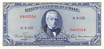 Chile  500  Pesos  ND. 1947  P 115  Series  A 4-100  Uncirculated Banknote  L19