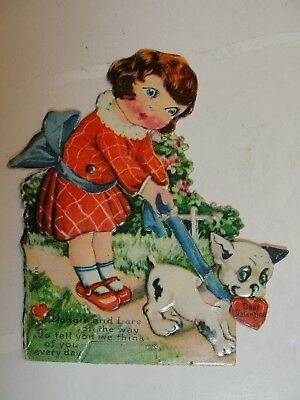 Vintage Mechanicial Die Cut Stand Up  Valentine**girl With Dog **circa 1900's