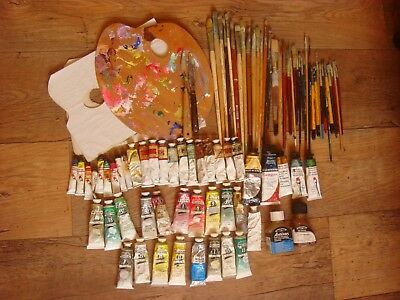 Job Lot of Quality Used Oil Paints, Paint Brushes etc