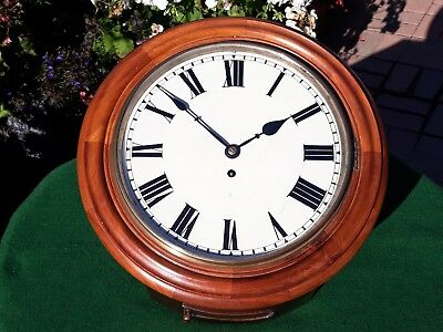#058 Antique Light Mahogany Chain Fusee Station/office Wall Clock