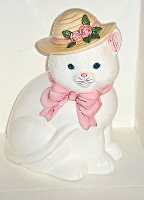 Kitty Cat Cookie Jar White with Hat Bonnet Flowers and Pink Bow