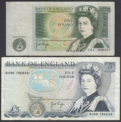 2x England Great Britain: 1 Pound + 5 Pounds (P-377a, 378b)