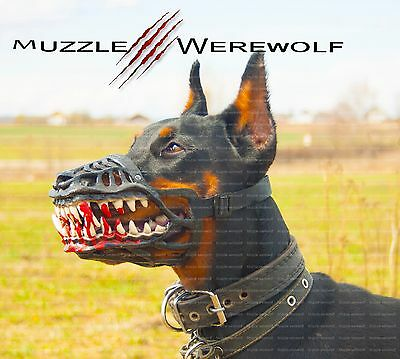 Werewolf Dog Muzzle Adjustable With Scary Teeth Dog Muzzle Zombie All Sizes